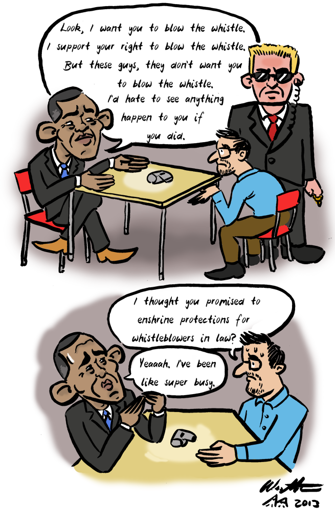 Obama, Snowden, PRISM and whistle blowing: Just put your lips together and blow (cartoon) | Monday 10 June 2013